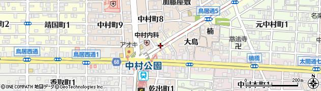 愛知県名古屋市中村区鳥居通周辺の地図