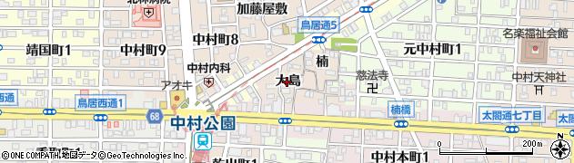 愛知県名古屋市中村区中村町(大島)周辺の地図