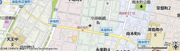愛知県津島市東中地町周辺の地図