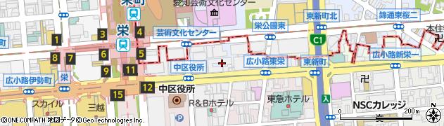 愛知県名古屋市中区新栄町周辺の地図