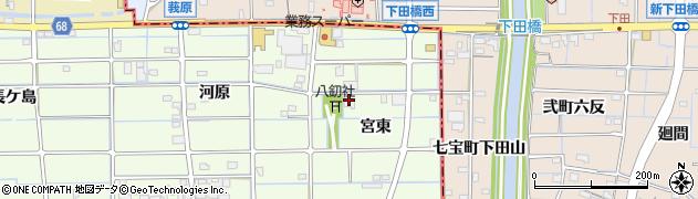 愛知県津島市莪原町(宮東)周辺の地図
