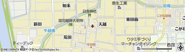 愛知県津島市牛田町(天越)周辺の地図