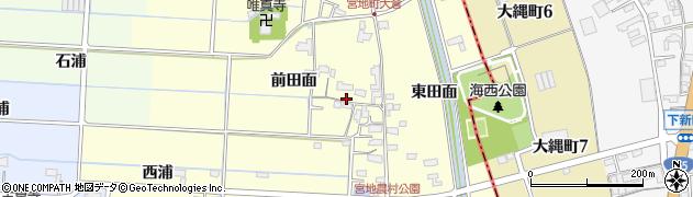 愛知県愛西市宮地町(前田面)周辺の地図