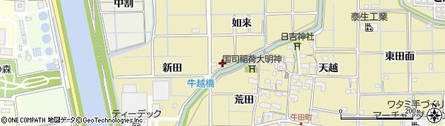 愛知県津島市越津町(如来)周辺の地図