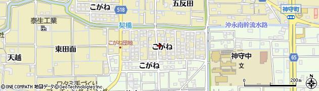 愛知県津島市越津町(こがね)周辺の地図