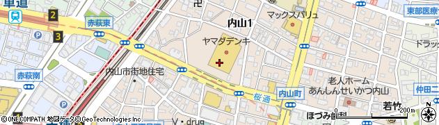 愛知県名古屋市千種区内山周辺の地図