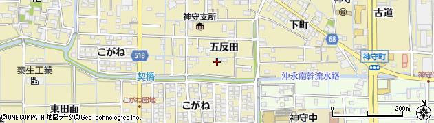 愛知県津島市神守町(五反田)周辺の地図