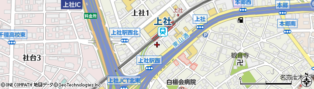 愛知県名古屋市名東区上社1丁目1304周辺の地図
