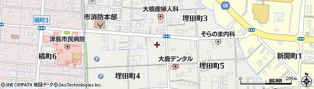 愛知県津島市埋田町周辺の地図