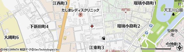 愛知県津島市江東町周辺の地図