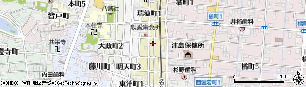 愛知県津島市瑞穂町周辺の地図