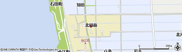 愛知県愛西市後江町(北田面)周辺の地図