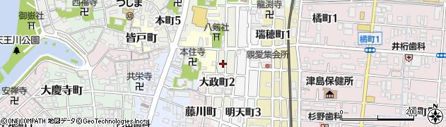 愛知県津島市大政町周辺の地図