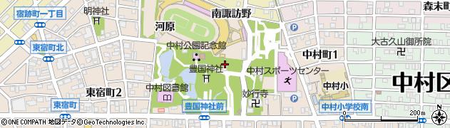 愛知県名古屋市中村区中村町(中村公園内)周辺の地図
