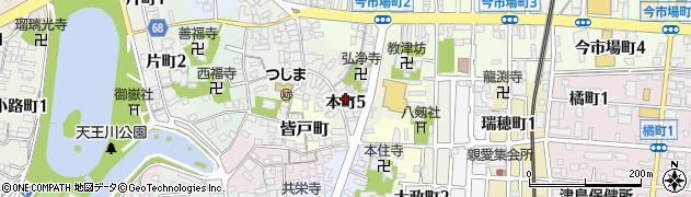 愛知県津島市本町周辺の地図
