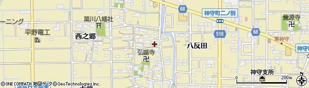 愛知県津島市越津町周辺の地図