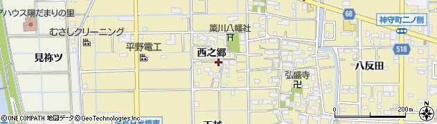 愛知県津島市越津町(西之郷)周辺の地図