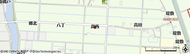 愛知県愛西市四会町(高西)周辺の地図