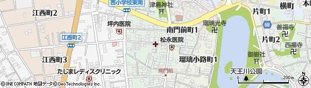 愛知県津島市南門前町周辺の地図