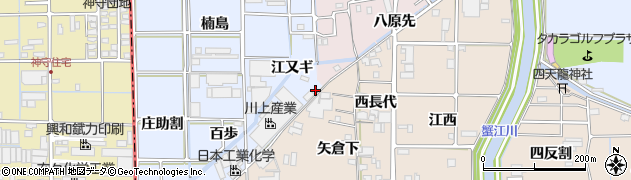 愛知県あま市乙之子(八原先)周辺の地図