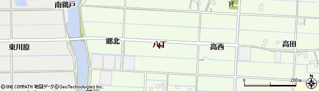 愛知県愛西市四会町(八丁)周辺の地図