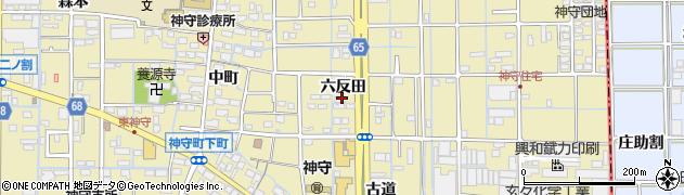 愛知県津島市神守町六反田24周辺の地図