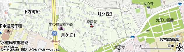 愛知県名古屋市千種区月ケ丘周辺の地図