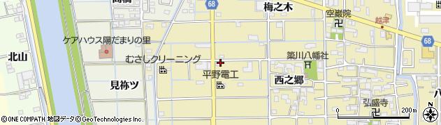 愛知県津島市越津町(坪之内)周辺の地図