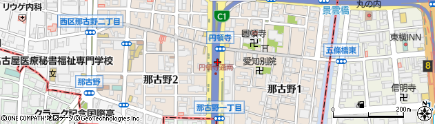 愛知県名古屋市西区那古野周辺の地図