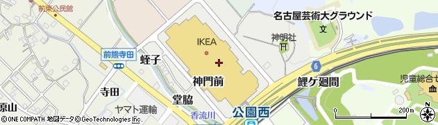 愛知県長久手市神門前周辺の地図