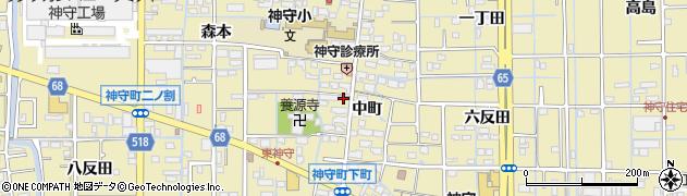 愛知県津島市神守町(中町)周辺の地図