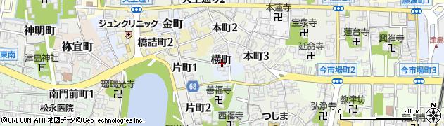愛知県津島市横町周辺の地図