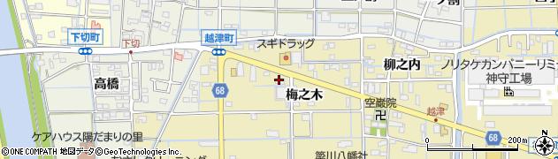愛知県津島市越津町(梅之木)周辺の地図