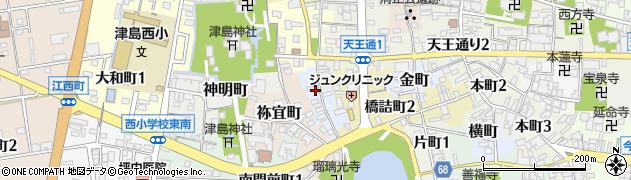 愛知県津島市浦方町周辺の地図
