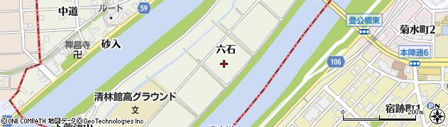 愛知県あま市下萱津(六石)周辺の地図