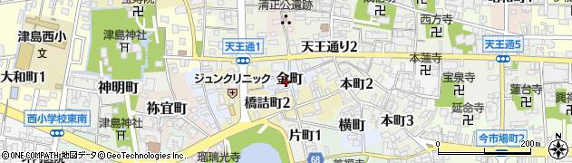愛知県津島市金町周辺の地図