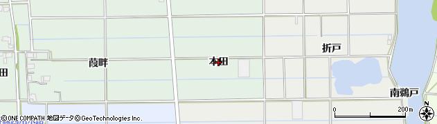 愛知県愛西市葛木町(本田)周辺の地図