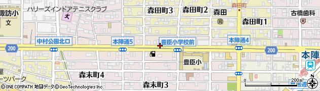 愛知県名古屋市中村区本陣通周辺の地図
