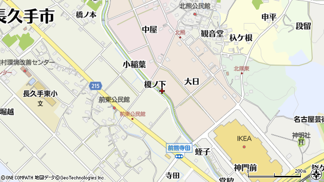 〒480-1333 愛知県長久手市蛭子の地図