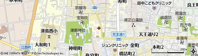 愛知県津島市馬場町周辺の地図