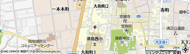 愛知県津島市大和町周辺の地図