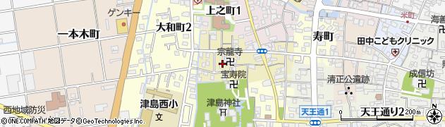 愛知県津島市中之町周辺の地図