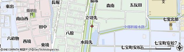 愛知県あま市篠田立切先周辺の地図