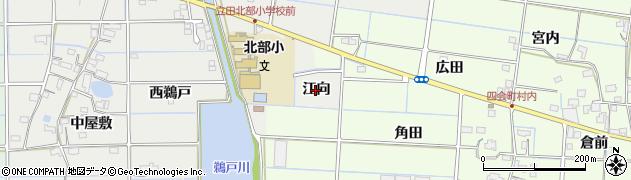 愛知県愛西市新右エ門新田町(江向)周辺の地図