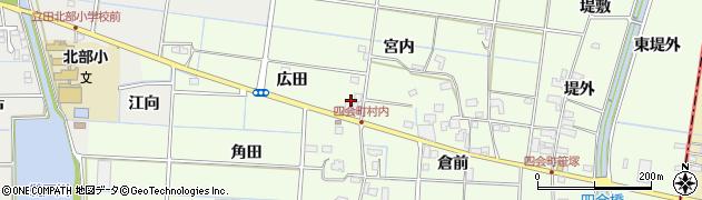 愛知県愛西市四会町(広田)周辺の地図
