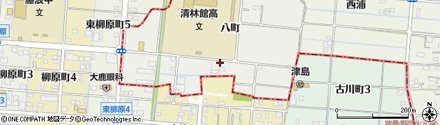 愛知県愛西市持中町(八町)周辺の地図