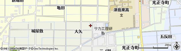 愛知県津島市下切町(大矢)周辺の地図