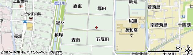 愛知県あま市篠田五反田周辺の地図