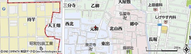 愛知県あま市乙之子(元柳)周辺の地図