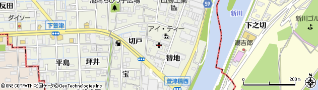 愛知県あま市下萱津(替地)周辺の地図